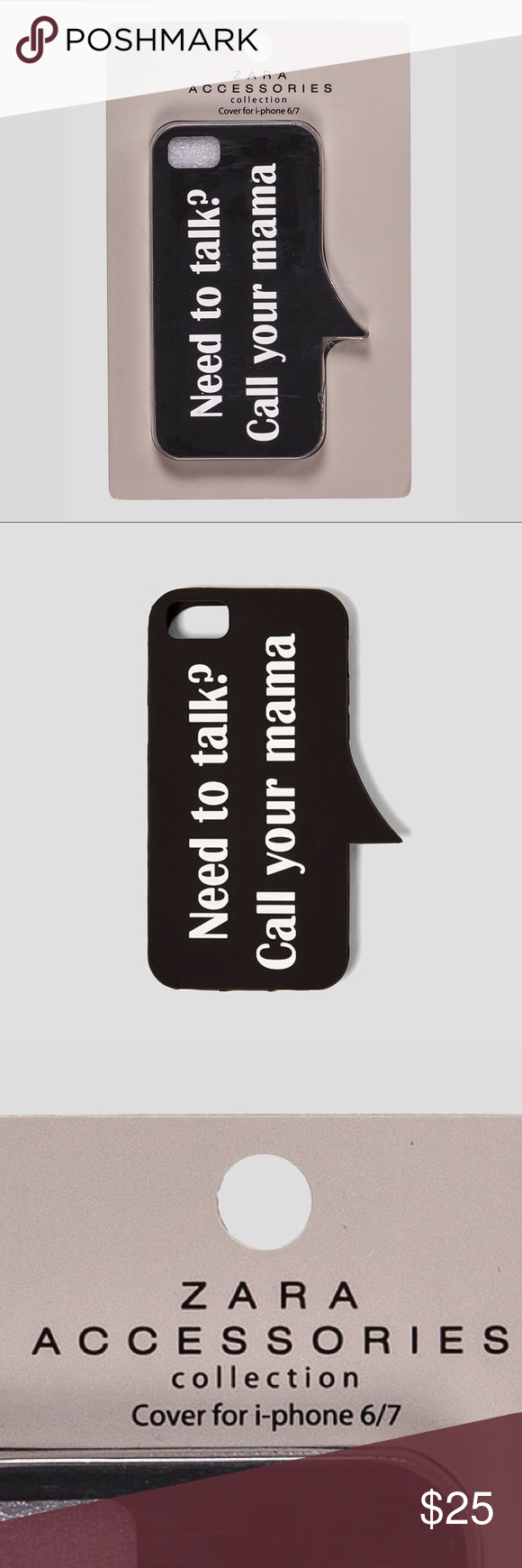 Zara Call Your Mom Iphone 6 7 Phone Case Nwt Nwt Zara Black Rubber Graphic Phone Case For Iphone 6 7 With Phone Case Accessories Iphone Cases Cute Cases