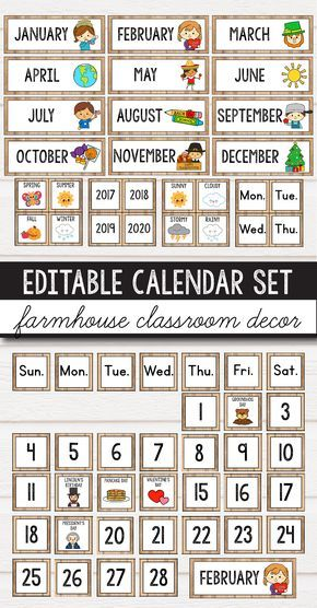 Classroom calendar display for preschool, primary, middle and elementary classroom decor for your school. The children will love this bright and fun printables hanging on the wall. If you're looking for ideas and you're on a budget, this calming rustic set is for you. It will work perfectly with several classroom decor themes: farmhouse, burlap, vintage, shabby chic and even simple, neutral decorations. It includes weather charts, calendar numbers for each month, monthly labels - all editable. #elementaryclassroomdecor