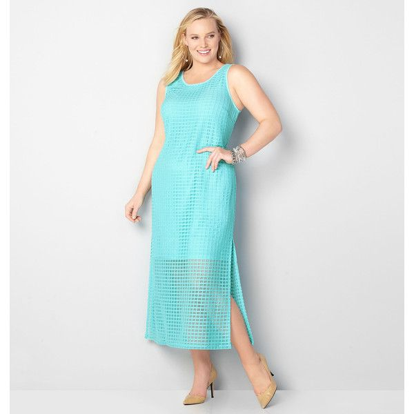 Avenue Plus Size Waffle Lace Overlay Maxi Dress ($39) ❤ liked on Polyvore featuring dresses, plus size, teal, lace overlay dress, womens plus size maxi dresses, see-through dresses, white sleeveless dress and plus size long dresses