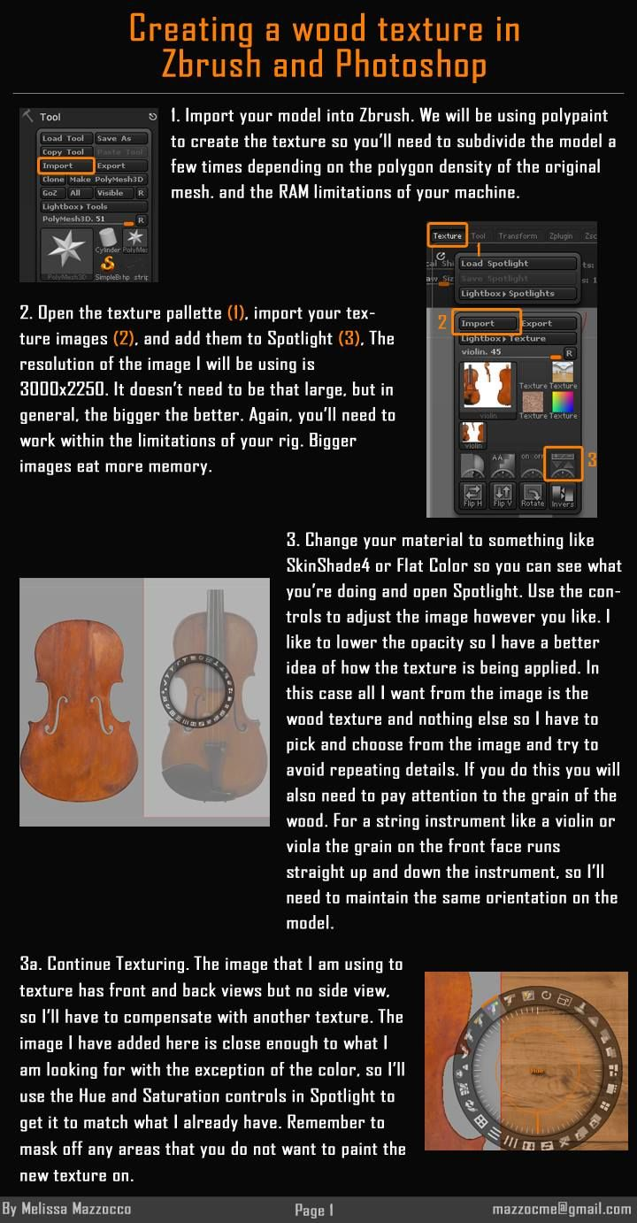 Melissa Mazzocco: How To Texture Paint Wood Grain In ZBrush