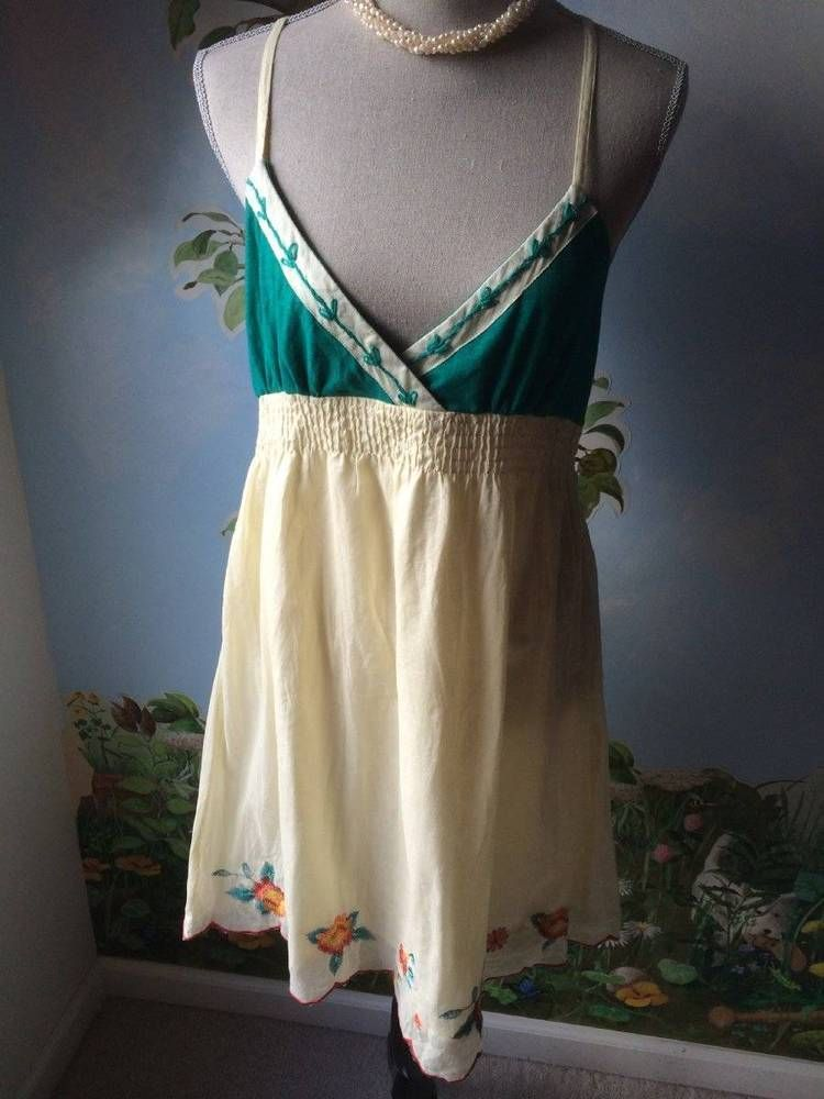 Flutterbye Womens Light Yellow, and Green Embroidery Dress Size L NWT #Flutterbye #EmpireWaist #SummerBeach