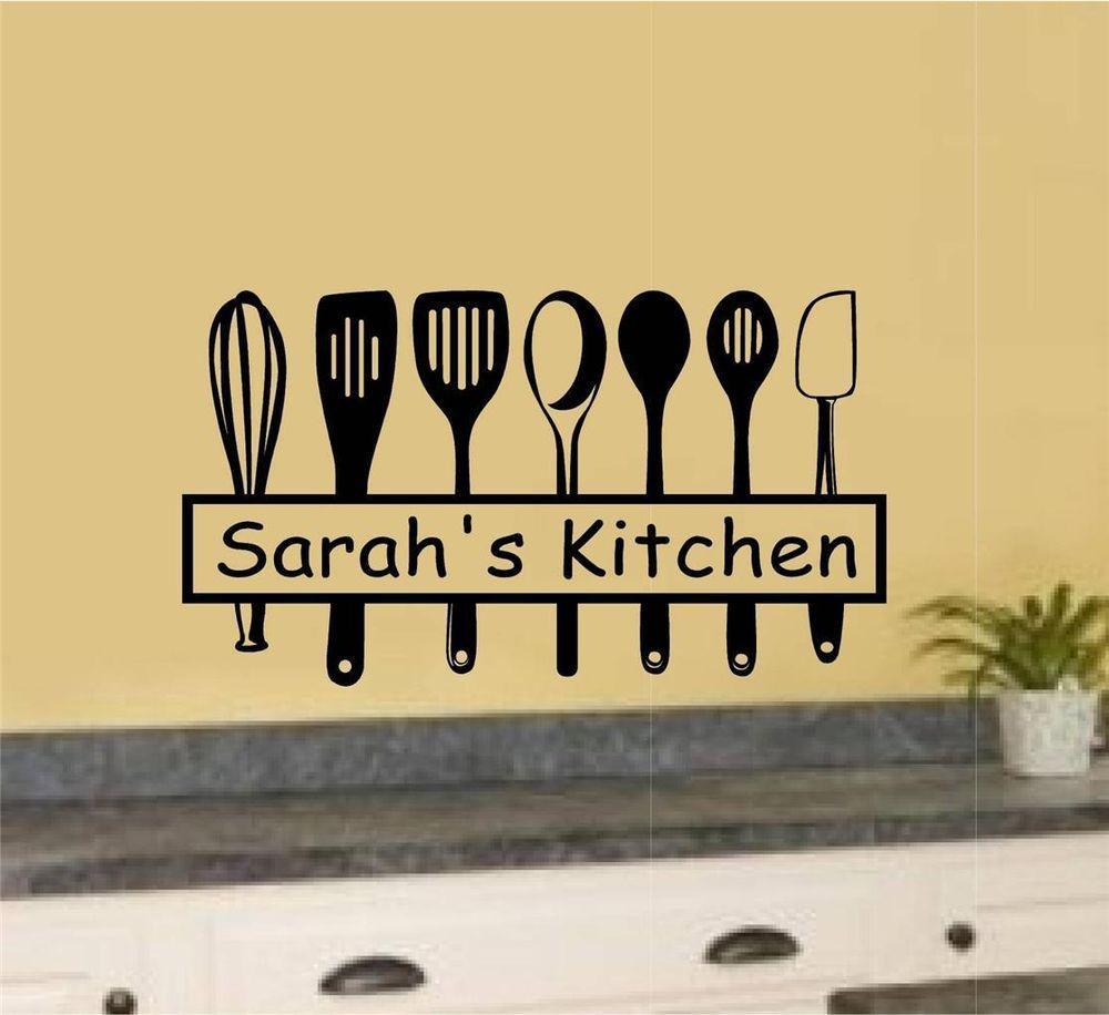 Custom Name Kitchen Utensils Vinyl Decal Wall Stickers Home Kitchen ...