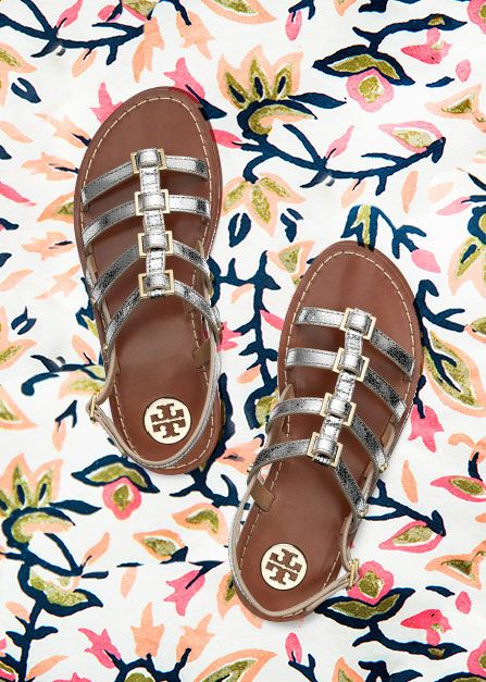 aab8752fc A shiny spin on the classic gladiator silhouette  Tory Burch Reggie  Metallic Flat Sandal