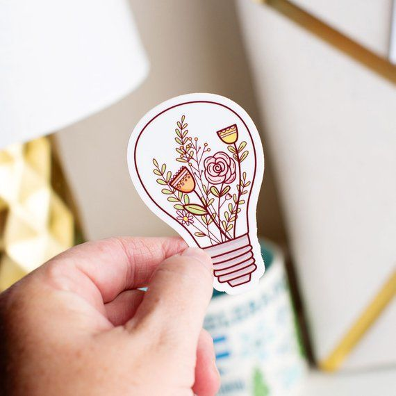 Lightbulb Sticker Flower Sticker Stickers For Laptop