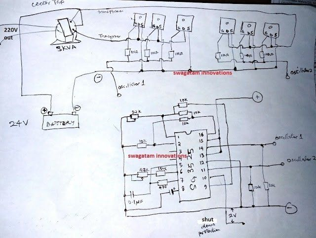 In this post we discuss a simple 2kva inverter circuit using the IC