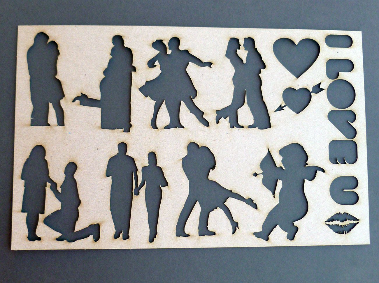 love couples in love stencil template trace wedding paper guide wedding engagment proposal cupid arrow heart lips hugging kissing dancing 1000 via etsy
