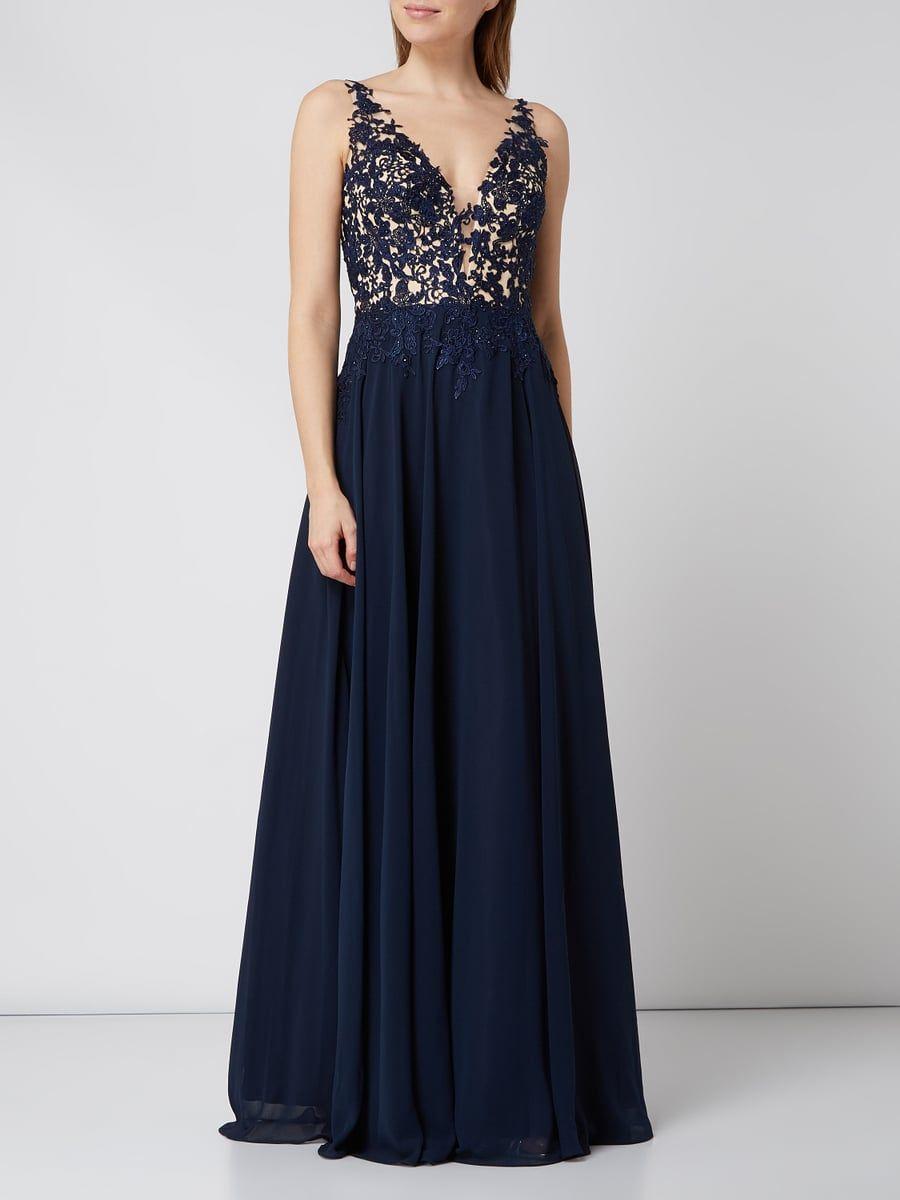 LUXUAR Abendkleid mit floraler Spitze in Blau / Türkis online