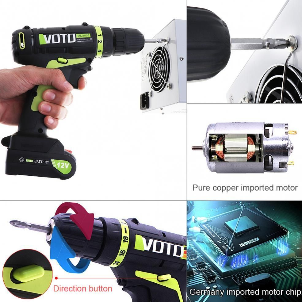 Voto 12v Electric Screwdriver With Lithium Battery Rechargeable Parafusadeira Furadeira Multi Function Cordless Electric Drill Electric Screwdriver Lithium Battery Battery Pack Charger