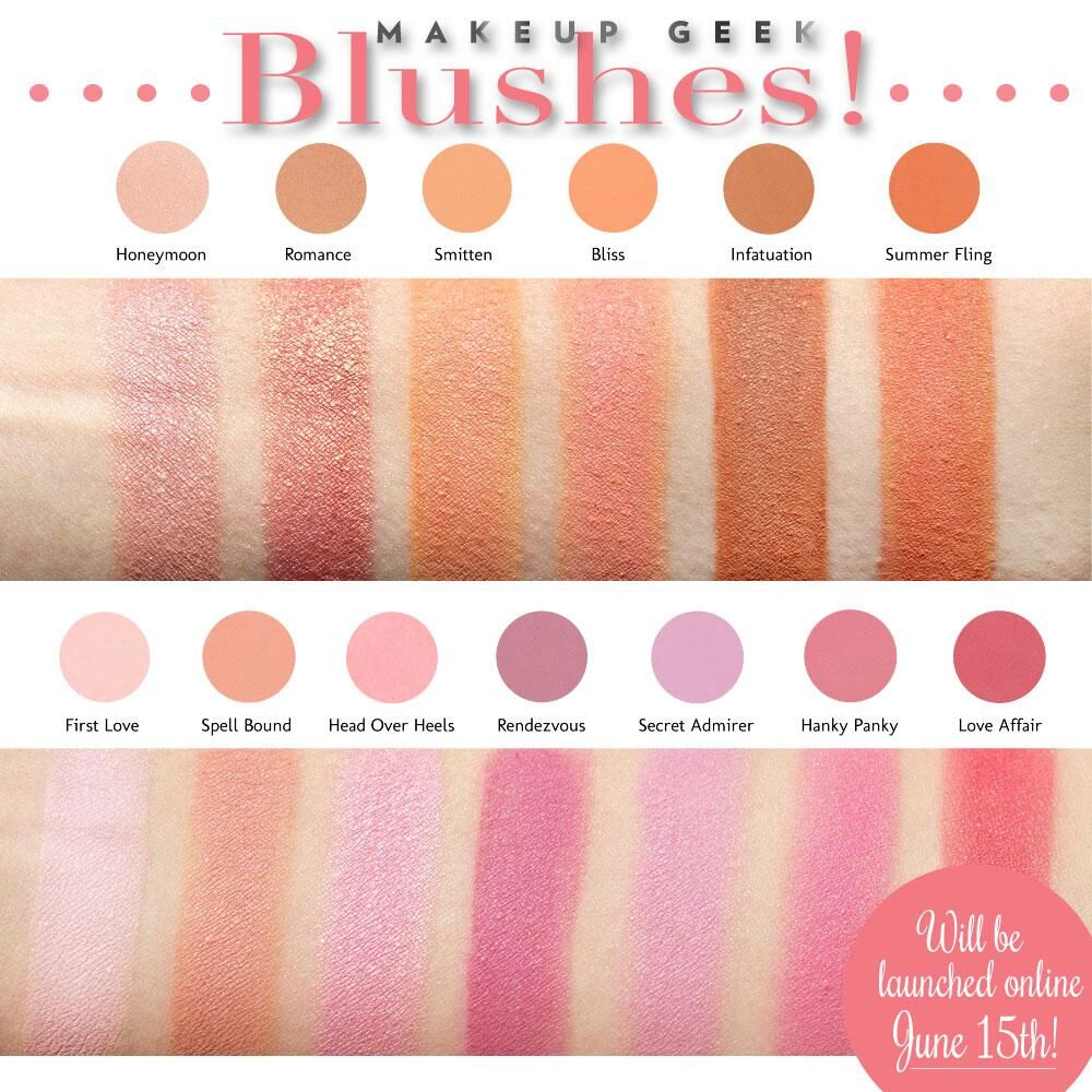 Check out our swatch preview of the Makeup Geek blushes