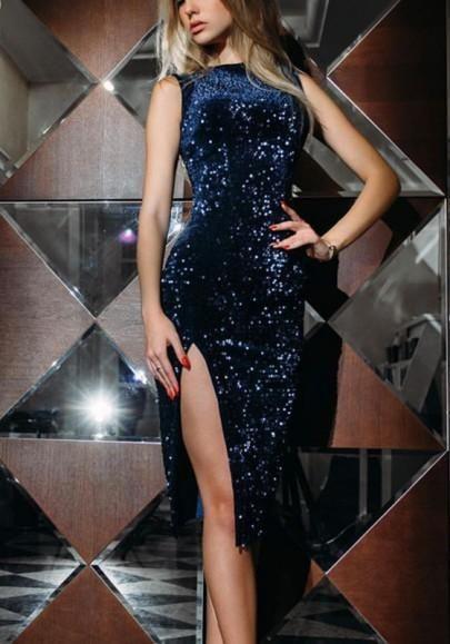 25d768bd Navy Blue Sequin Glitter Side Slit Bodycon Banquet Elegant Party Maxi Dress
