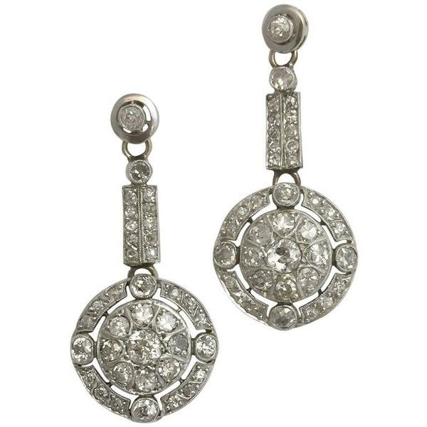 Preowned Antique Diamond Gold Platinum Drop Earrings ($3,279) ❤ liked on Polyvore featuring jewelry, earrings, multiple, antique diamond earrings, antique gold jewelry, drop earrings, gold drop earrings and yellow gold drop earrings