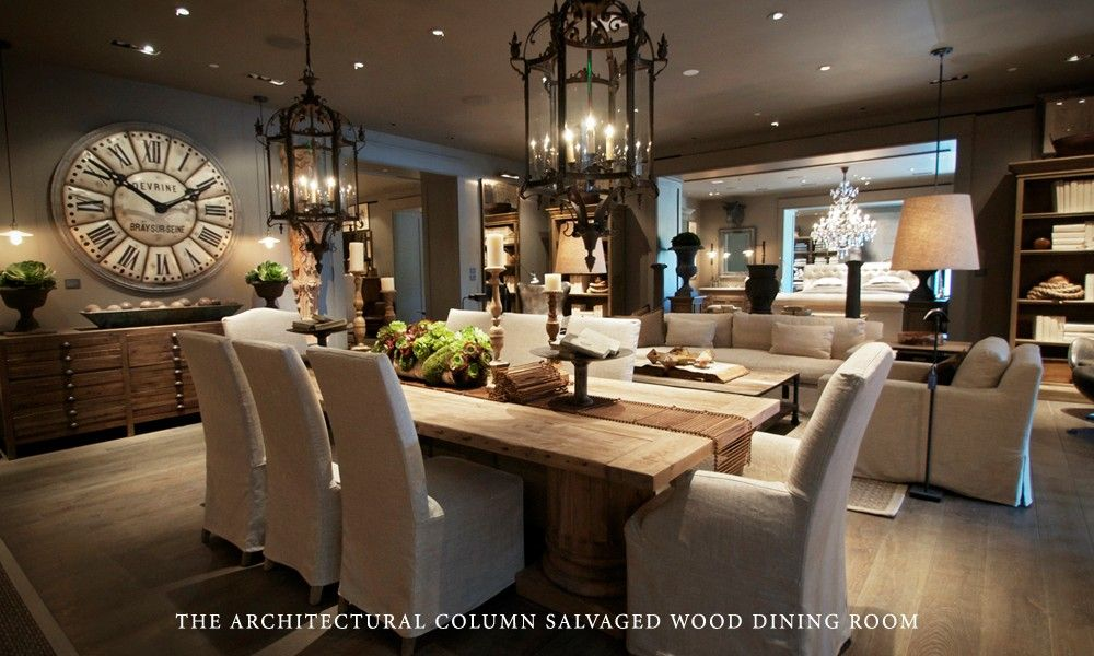 Boutique Of The Week The Restoration Hardware Gallery Restoration Hardware Living Room Rustic Dining Room Table Rustic Dining Room