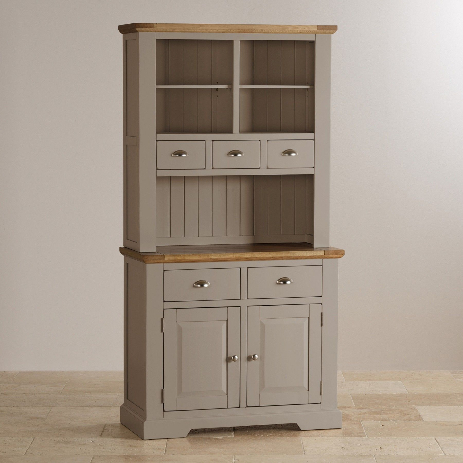 St Ives Natural Oak And Light Gray Painted Small Hutch  Kitchen Prepossessing Small Hutches Dining Room 2018