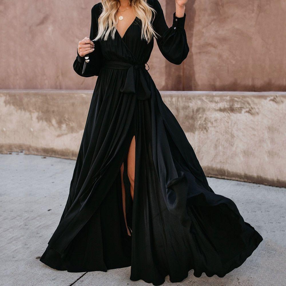 Boho Long Sleeves Maxi Dress In 2020 Long Sleeve Boho Maxi Dress Casual Party Dresses Maxi Dress With Sleeves [ 1000 x 1000 Pixel ]
