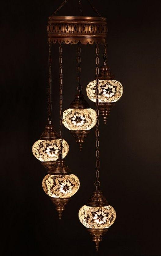 White Lamp Boho Lighting Mosaic Chandelier Ceiling