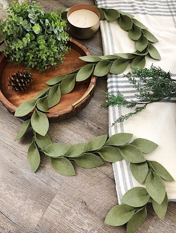 Magnolia leaf felt garland (Summer olive green) #feltcreations