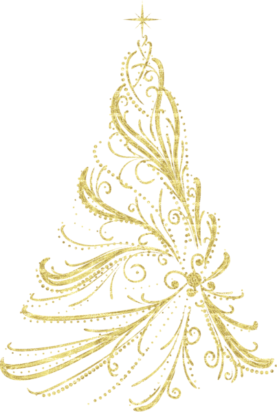 Transparent Golden Decorative Christmas Tree PNG Clipart More