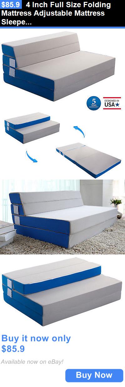 Bedding 4 Inch Full Size Folding Mattress Adjustable