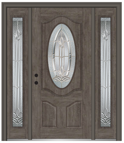 Unique Staining Fiberglass Entry Door