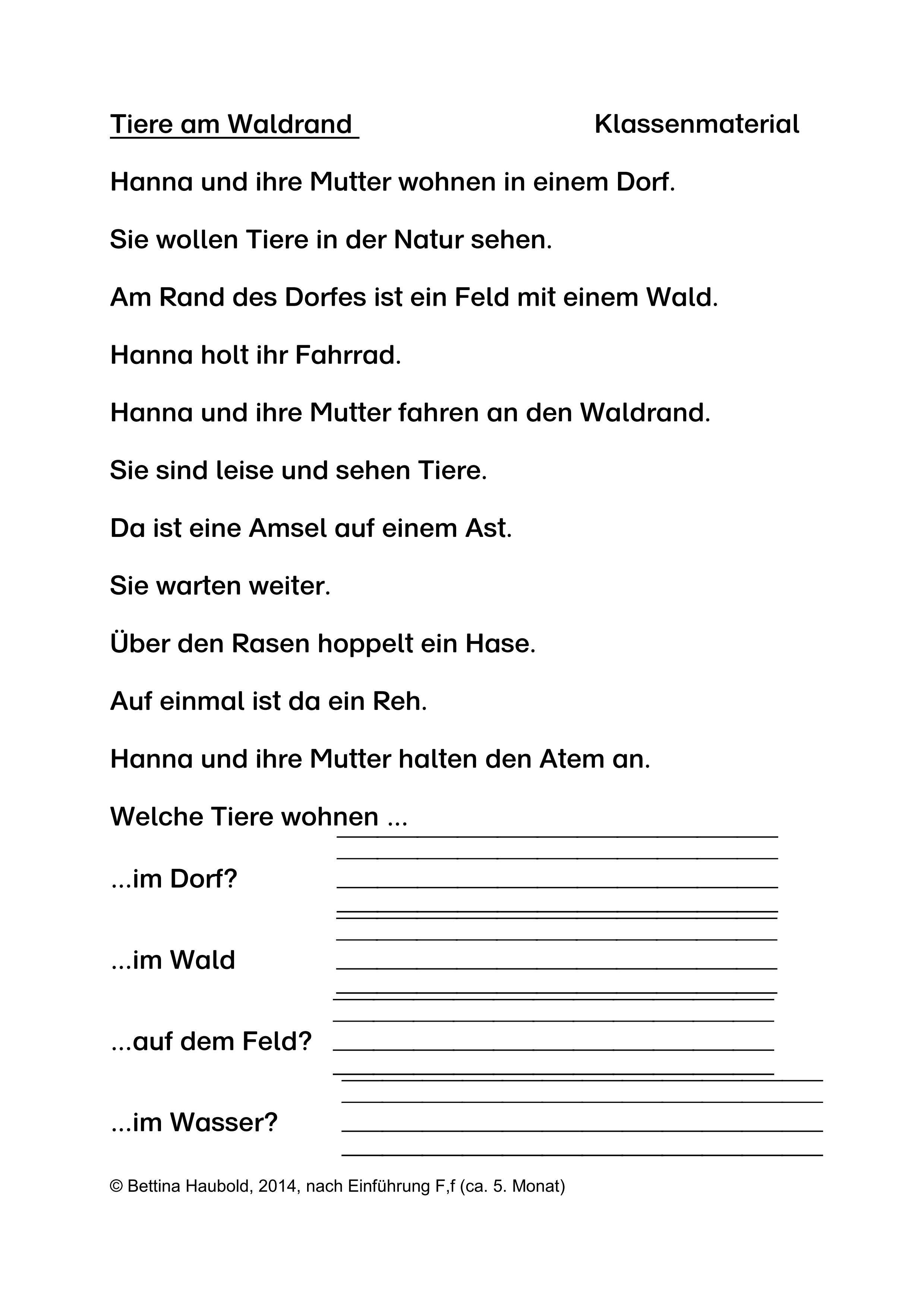 Tiere Am Waldrand Klassenmaterial Und Forderblatt Unterrichtsmaterial Im Fach Deutsch Erste Klasse Deutsch Lernen Volk Und Wissen
