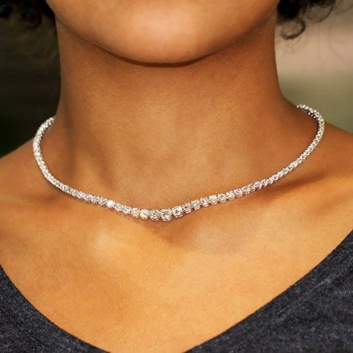 Pin By Kandyss Mallory On Dream Jewelry In 2020 White Diamond Necklace Tennis Necklace Tennis Bracelet Diamond