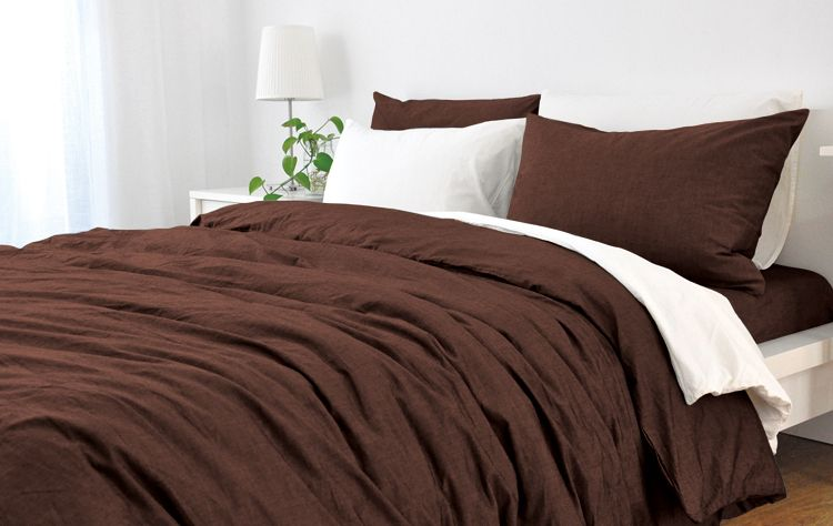 cedar linen duvet cover dark brown