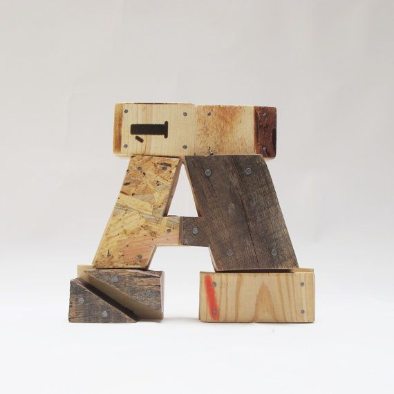 "Industrial Letters Wall Hanging Wooden Letters ""a""industrial Letterswall Hanging Initals"