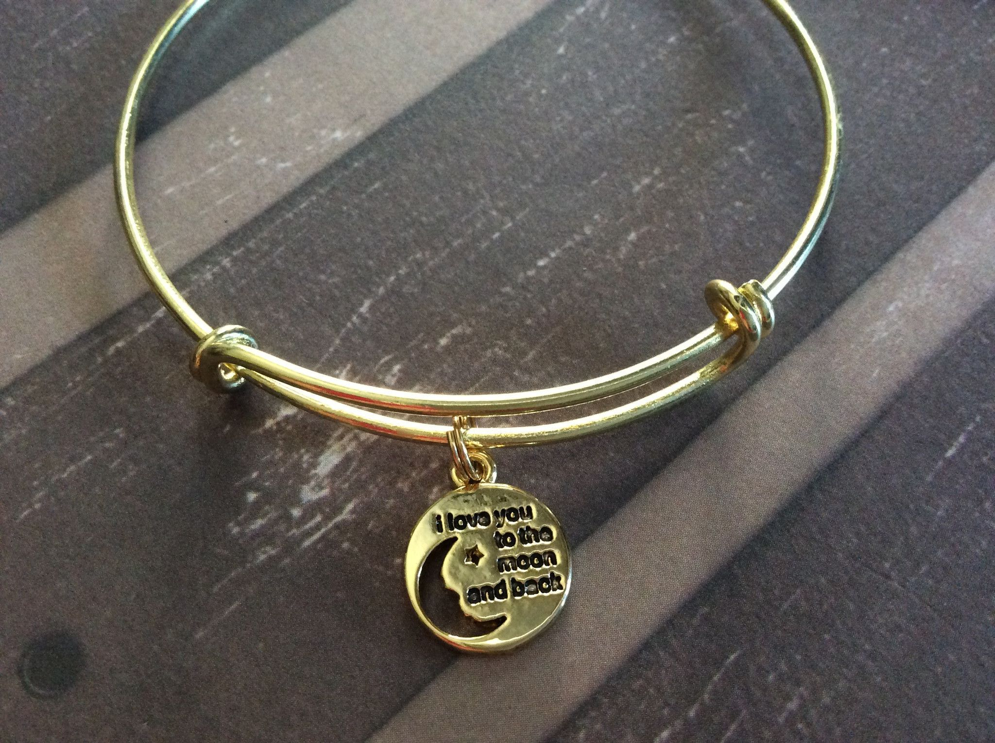 I Love you to the Moon and Back on a Gold Expandable Bracelet ...