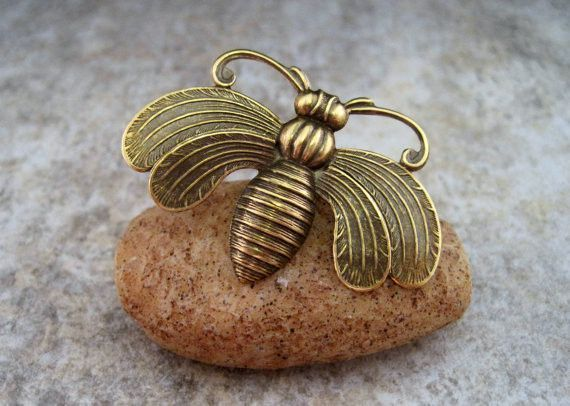 Handmade Oxidized Brass Bee Brooch