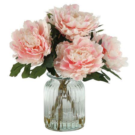 Faux Peony Arrangement Faux Flower Arrangements Artificial Flower Arrangements Flower Arrangements