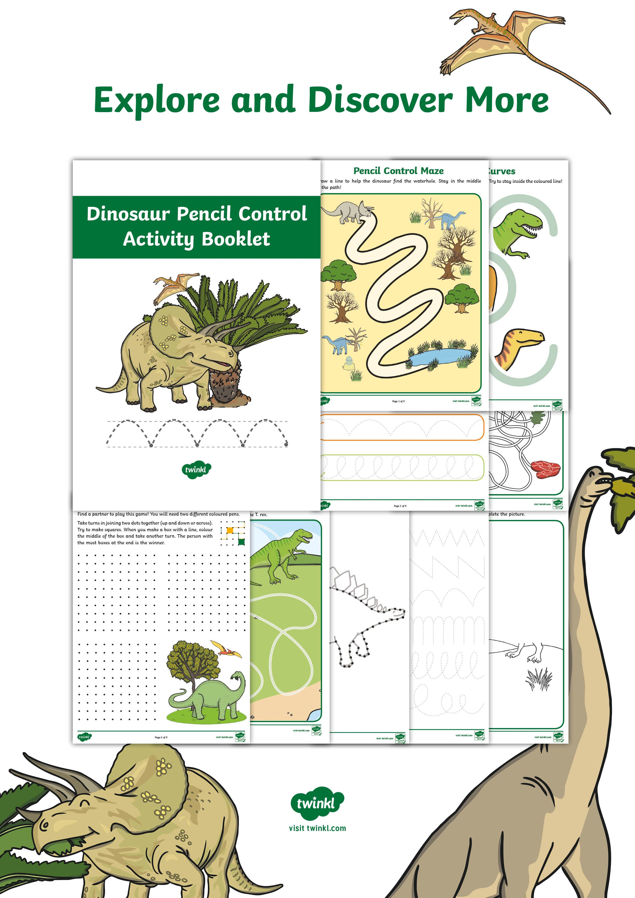Dinosaur Themed Pencil Control Activity Booklet Practise Mark