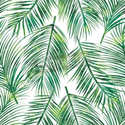 Vector Illustration Of Green Palm Tree Leaf Seamless