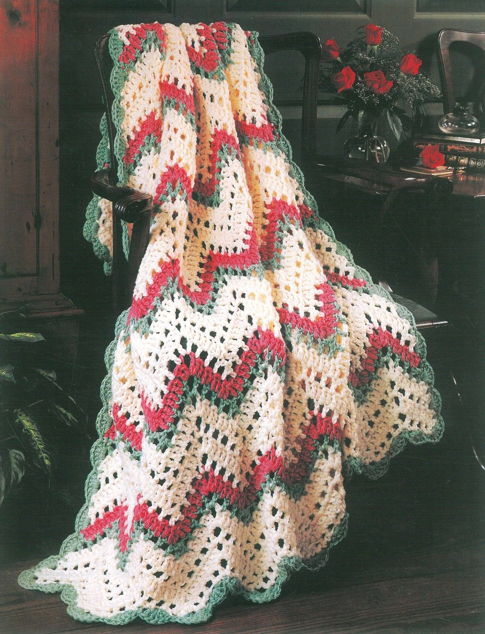 filet ripple afghan kit christmas stitch this timeless crocheted filet rippled afghan in a christmas color way with vannas choice yarns from lion