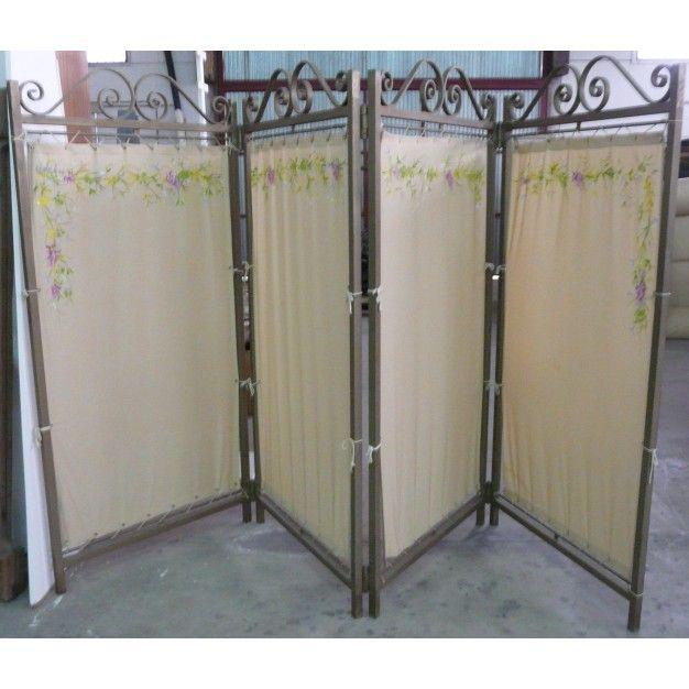 Biombo antiguo en hierro y tela pintada id ias - Puertas de biombo ...