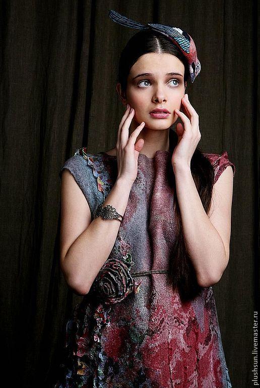 Купить Валяное платье «В саду у сойки» - платье ручной работы, платье валяное