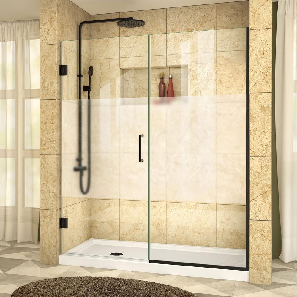 Dreamline Unidoor Plus 59 5 To 60 In X 72 In Frameless Hinged Shower Door In Black Shower Doors Frameless Shower Doors Shower Doors