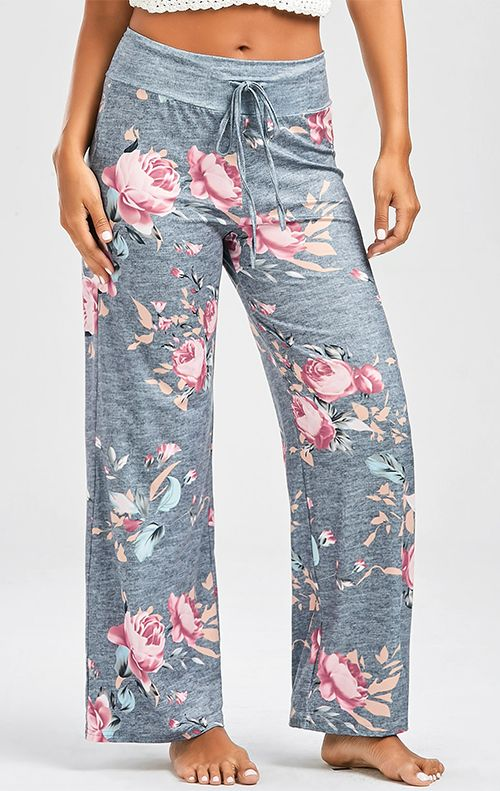 Casual Floral Print Drawstring Pants (With images)   Slacks for