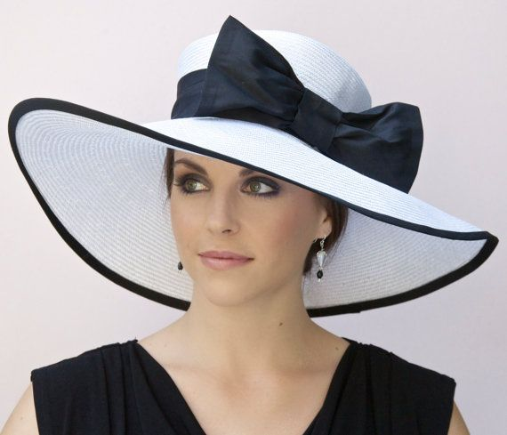13440df5 Kentucky Derby Hat, Wedding Hat, Black and White Hat, Wide Brim Hat, Ascot  Hat, Formal Hat