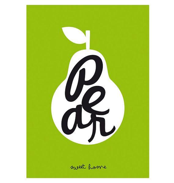Arte para decorar. Lámina. Pera. Ilustración. por SomeLikeItShop