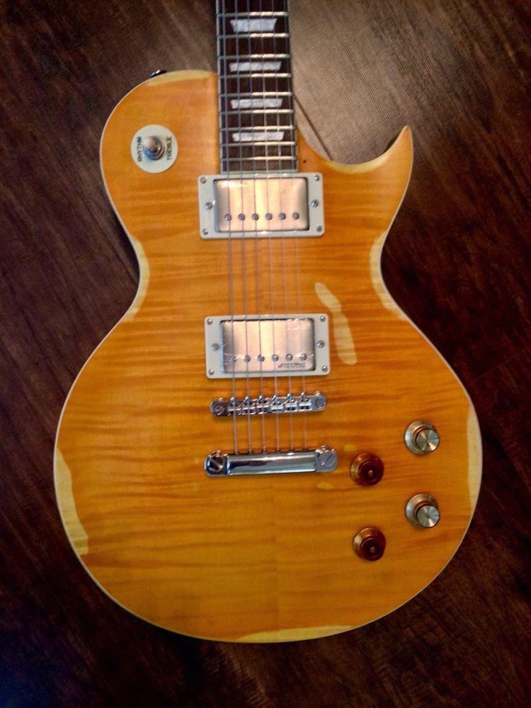 Vintage V100mrpgm Distressed Lemon Drop Flame Top Peter Green Gary Moore Guitar Guitar Lemon Drop Guitars For Sale