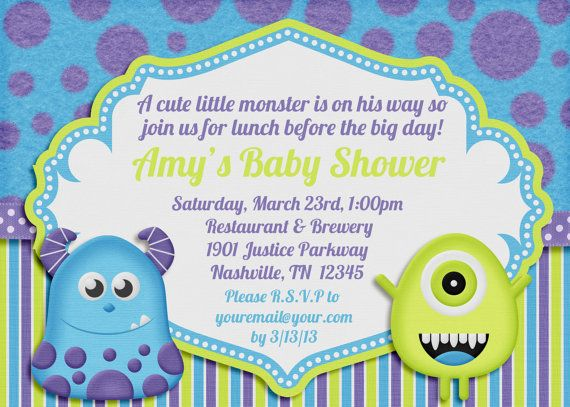 Monsters Inc Baby Shower Invitations | Little Monster Baby Shower  Invitation By AmandaCreation On Etsy