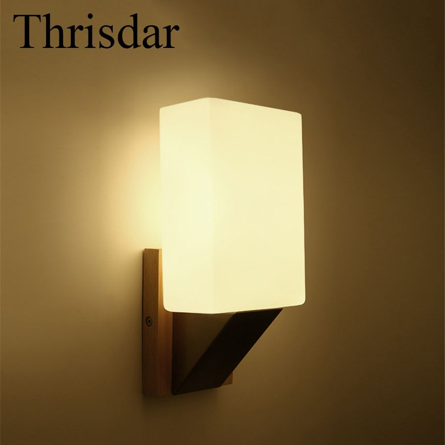 Thrisdar E27 Nordic Solid Wooden Wall Sconce Lamp Balcony Bedroom ...