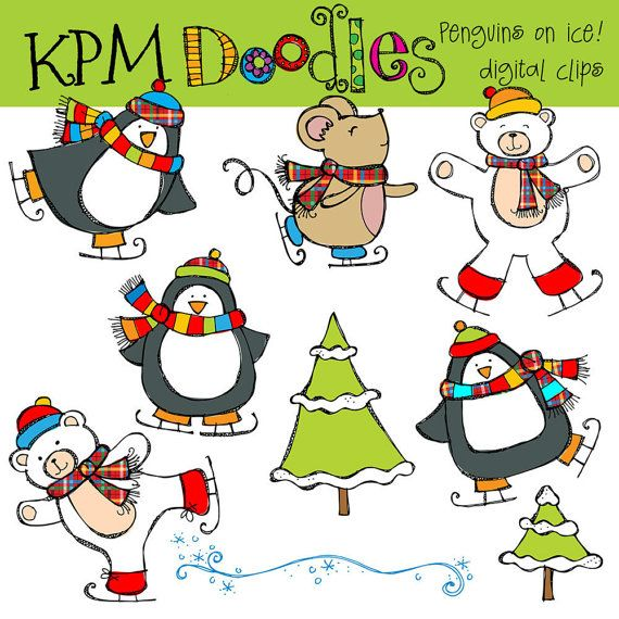 COMBO PACK Penguins on ice Digital Clip art and by kpmdoodles, $5.75