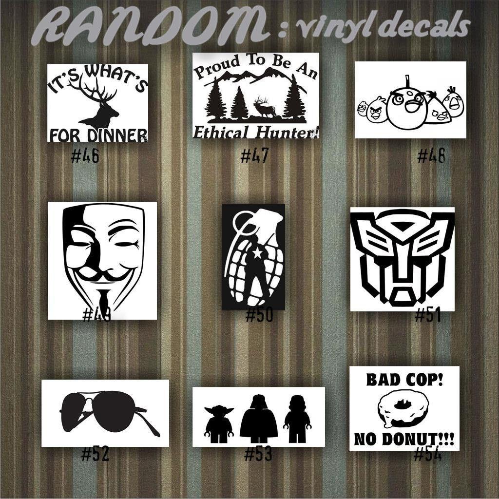 RANDOM Vinyl Decals Car Sticker Custom Vinyl Decal - Custom vinyl decals laptop