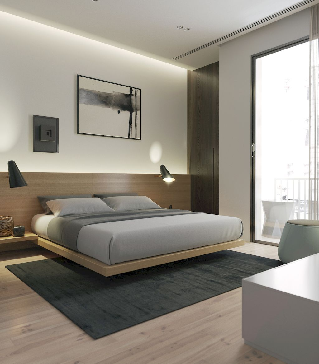 Fixed head board and lights would be cool in the master bedroom modern contemporary also rh pinterest
