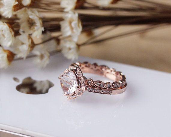 Cushion Morganite Ring Set Solid 14K Rose Gold by JulianStudio