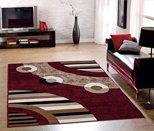 Circles Area Rug Modern Contemporary Geometric Ivory Black Beige Red 5X7 8X10