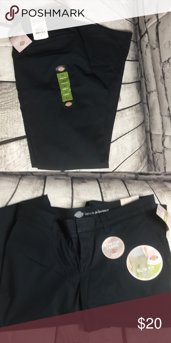 4ef4ab1861d Flat Front Stretch Twill Pant NWT. Stretch fabric. Slim Fit. Boot cut. Mid  rise. Dark Navy. Size: 10R Dickies Pants Boot Cut & Flare