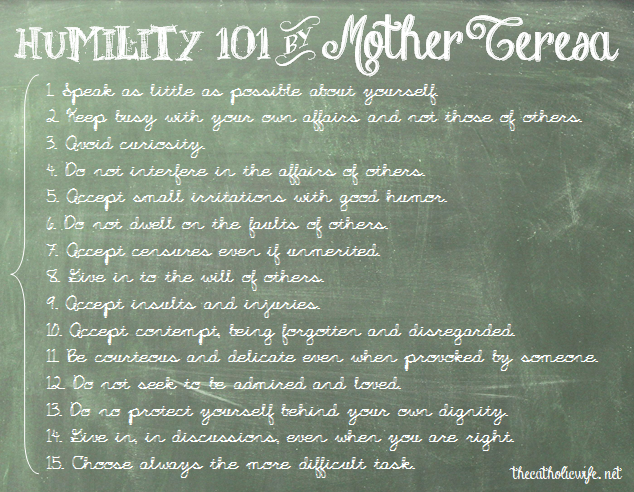 Mother Teresa Marriage Quotes: Mother Teresa's Humility List