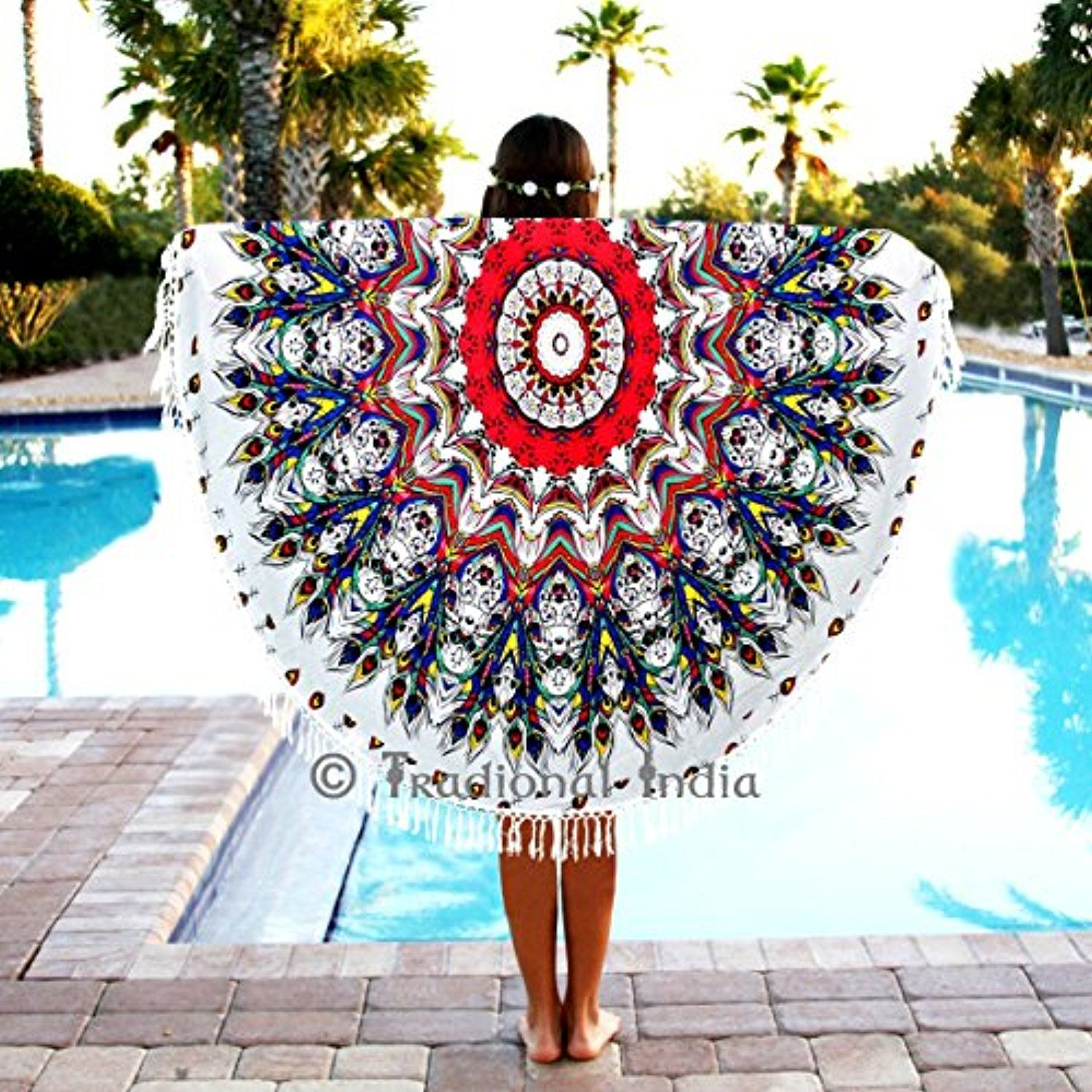 "Indian Circle of Mandala Multi Round Roundie Mandala Feather Peacock Tapestry Beach Throw Towels 50"" -- Awesome products selected by Anna Churchill"